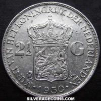 1930 Netherlands Wilhelmina I Two and a Half Silver Guldens