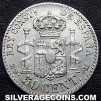 1885 (86) MS-M Alfonso XII Spanish Silver 50 Cents