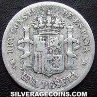 1882(82) MS-M Alfonso XII Spain Silver Peseta