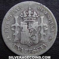 1885 (85) MS-M Alfonso XII Spanish Silver Peseta