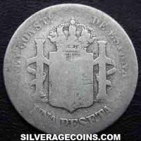 "1894 (94) PG-V Alfonso XIII ""Bucles"" Spanish Silver Peseta"