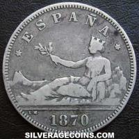 1870 (74) DE-M Provisional Government Spanish Silver 2 Pesetas