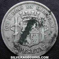 1870 (75) DE-M Provisional Government Spanish Silver 2 Pesetas