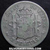 1881 (81) MS-M Alfonso XII Spanish Silver 2 Pesetas