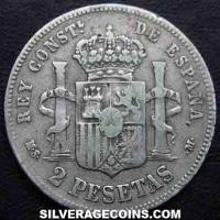 1884 (84) MS-M Alfonso XII Spanish Silver 2 Pesetas