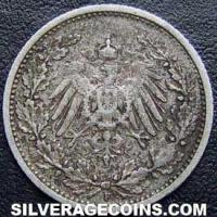 1906 F Wilhelm II German Silver Half Mark