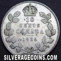 "1936 George V Canadian Silver ""Dime"" 10 cents"