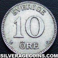 1936 G long 6 Gustav V Swedish Silver 10 Öre