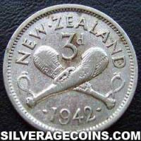 1942 George VI New Zealand Silver Threepence