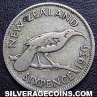 1936 George V New Zealand Silver Sixpence