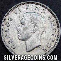 1940 George VI New Zealand Silver Sixpence