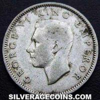 1944 George VI New Zealand Silver Sixpence