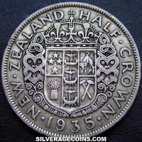 1935 George V New Zealand Silver Half Crown