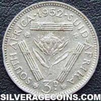 1952 George VI South African Silver Threepence