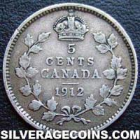 1912 George V Canadian Silver 5 cents