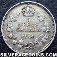 1914 George V Canadian Silver 5 cents