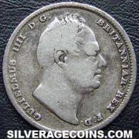 1834 William IV British Silver Sixpence