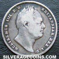 1837 William IV British Silver Sixpence