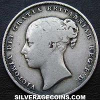 "1857 Queen Victoria British Silver ""Young Head"" Shilling (type 1)"