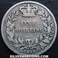 "1859 Queen Victoria British Silver ""Young Head"" Shilling (type 1)"