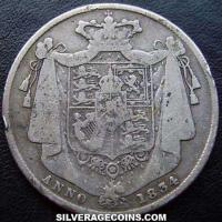 1834 script WW William IV British Silver Half Crown