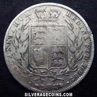 "1846 Queen Victoria British Silver ""Young Head"" Half Crown"