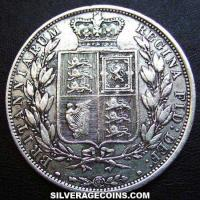 "1884 Queen Victoria British Silver ""Young Head"" Half Crown"