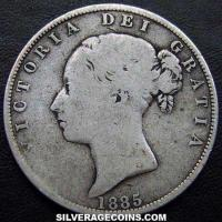 "1885 Queen Victoria British Silver ""Young Head"" Half Crown"