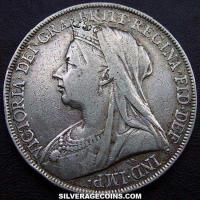 "1900-LXIII Queen Victoria British Silver ""Widow Head"" Crown"