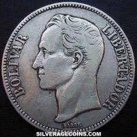 1936(p) Normal Venezuela Silver 25 grams (5 Bolivares)