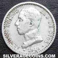1910 (10) PC-V Alfonso XIII Spanish Silver 50 Cents