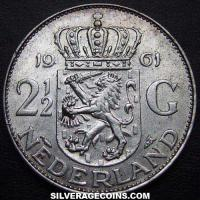 1961 Netherlands Juliana Two and a Half Silver Guldens