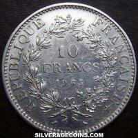 1965 French Silver 10 New Francs (Hercules)