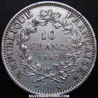 1967 10 Silver French New Francs (Hercules)
