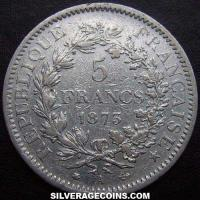 1873A 5 French Silver Francs (Hercules)