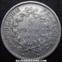 1875 A 5 French Silver Francs (Hercules)
