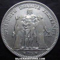 1874 K 5 French Silver Francs (Hercules)