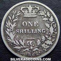 "1865 Queen Victoria British Silver ""Young Head"" Shilling"