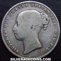 "1866 Queen Victoria British Silver ""Young Head"" Shilling (type 3)"