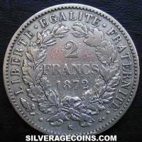 1872 K French Silver 2 Francs (Liberty Head, .835)