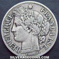 1871 A large A French Silver 2 Francs (Liberty Head, .835)