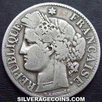 1873 A French Silver 2 Francs (Liberty Head, .835)