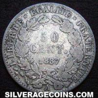 1887 A French Silver 50 Cents (Modern Republic, Liberty Head)