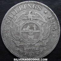 1894 South African ZAR Silver 2 and a Half Shillings