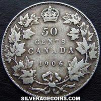 1906 Edward VII Canadian Silver 50 Cents