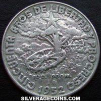 1952 Cuban Silver 40 Centavos (50th year of the Republic)