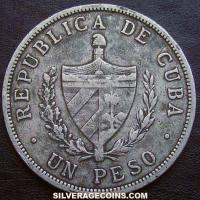 1915 Cuban Silver Peso (high relief star)