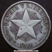 1916 Cuban Silver Peso (low relief star)