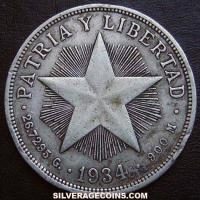 1934 Cuban Silver Peso (low relief star)