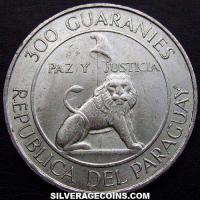 1968 Paraguay Silver 300 Guaranies (Centennial of the National Epic)